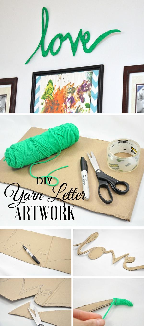 16.DIY Yarn Letter Art Work