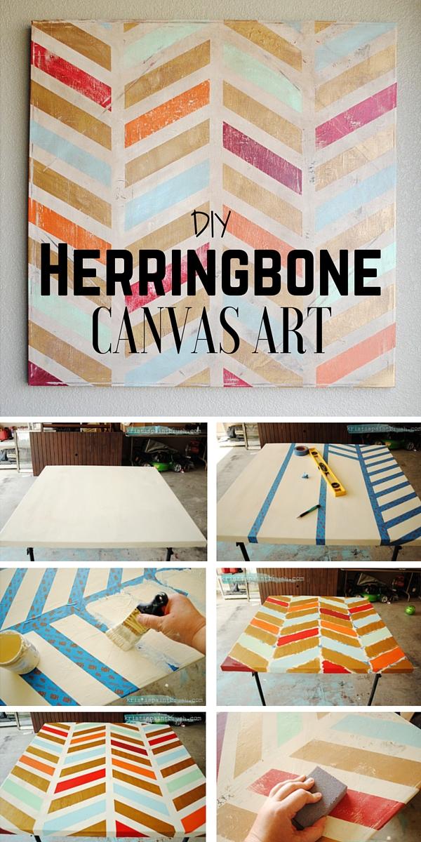 3.DIY Herringbone Canvas Art