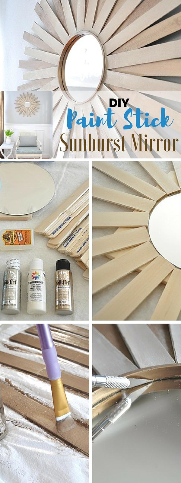 5.DIY Paintstick Sunburst Mirror