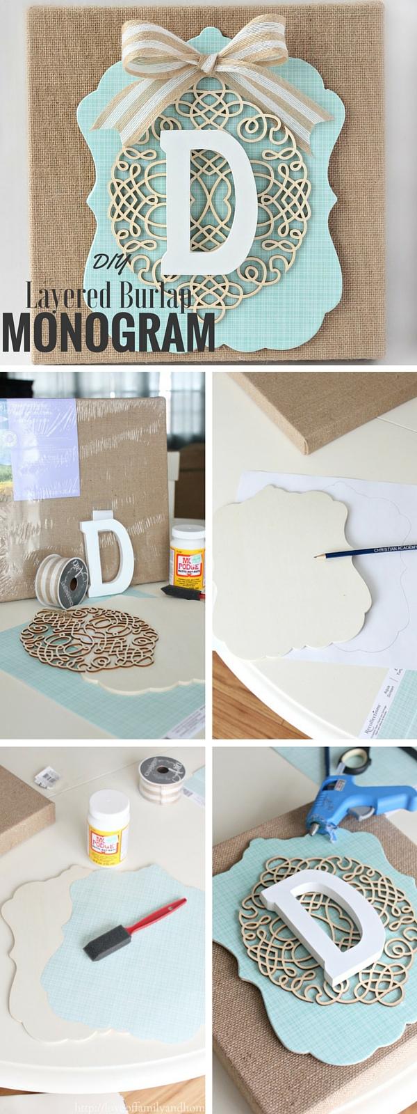 6.DIY Layered Burlap Monogram