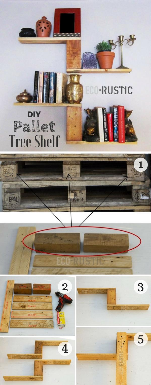 12.DIY Pallet Tree Shelf