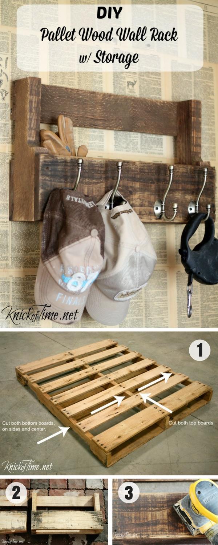 16.DIY Pallet Wall Rack