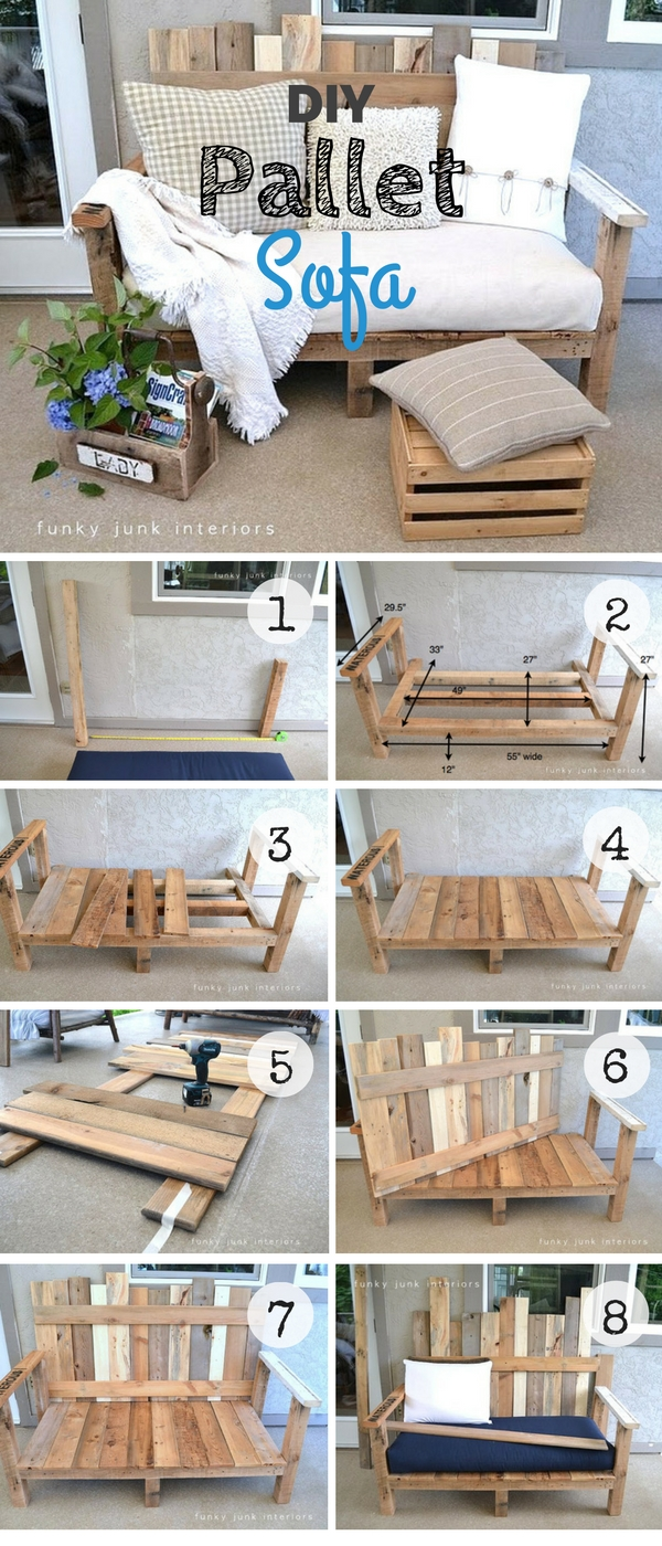 2.DIY Pallet Sofa