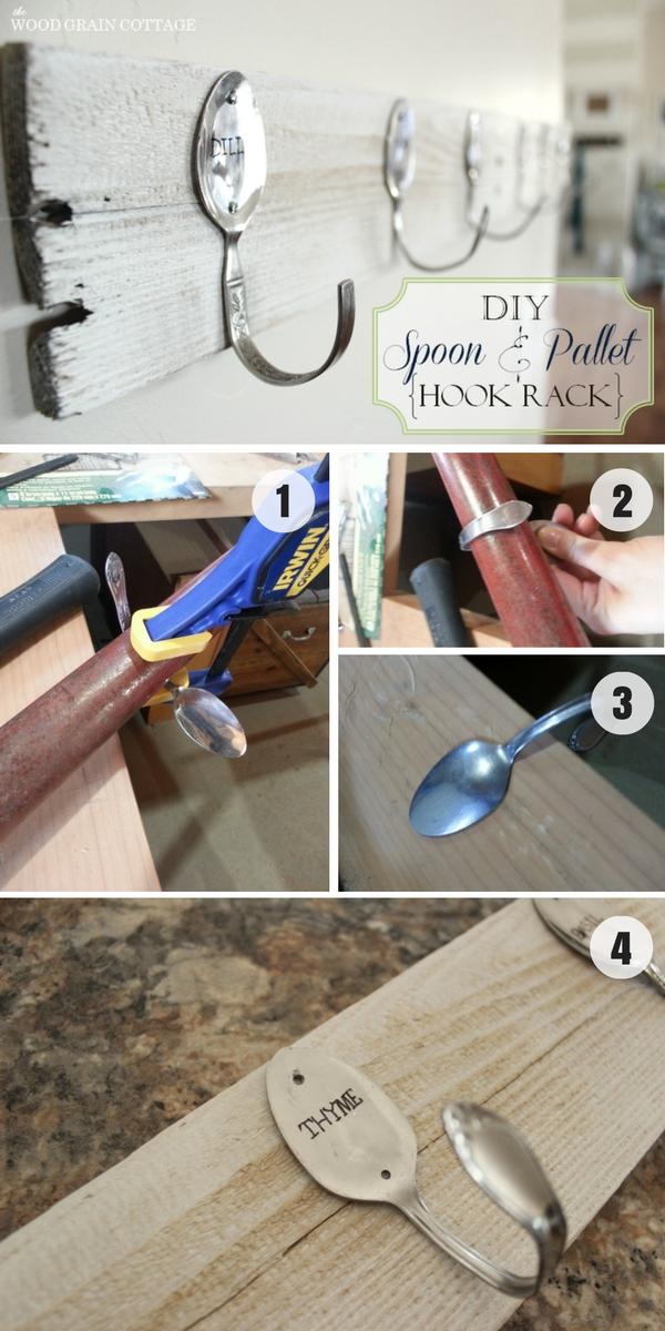 6.DIY Spoon and Pallet Hook Rack