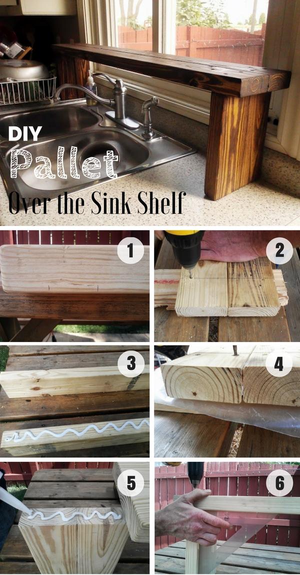 7.DIY Pallet Over the Sink Shelf