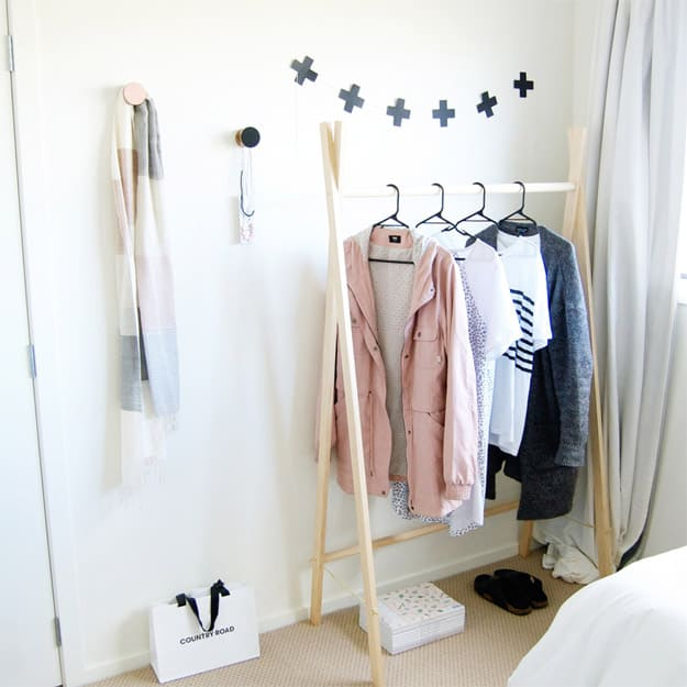 2.Wooden Clothes Rack