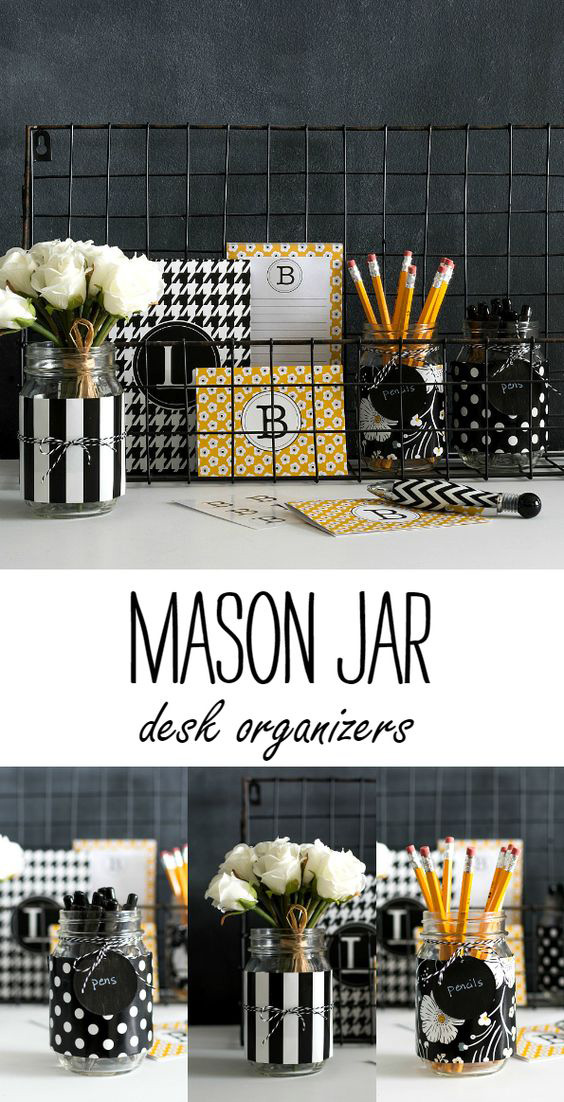 1.Manson Jar Desk Organizer