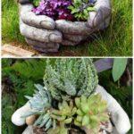 13.DIY Hand Cup Planter