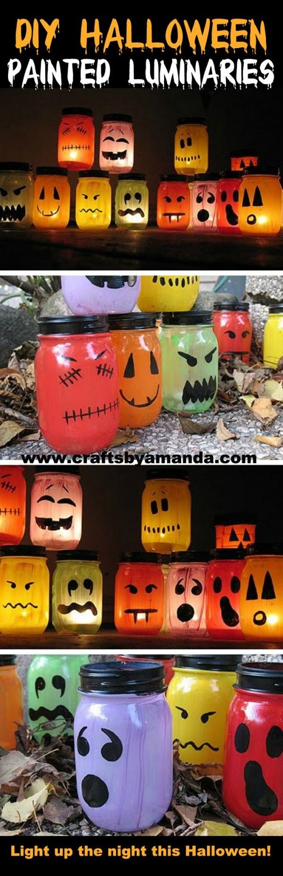 10. DIY Halloween Painted Luminaries