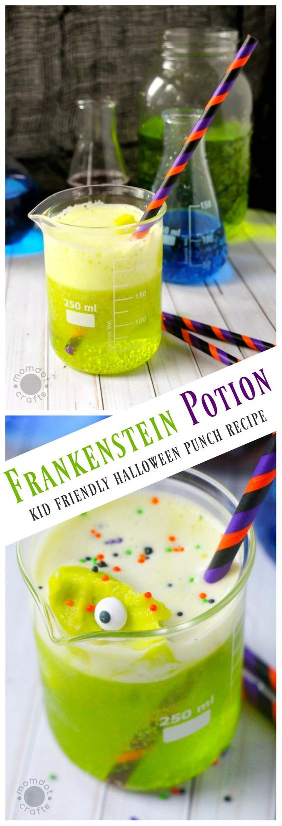8. Frankensten Potion Kid Friendly Halloween Punch Recipe