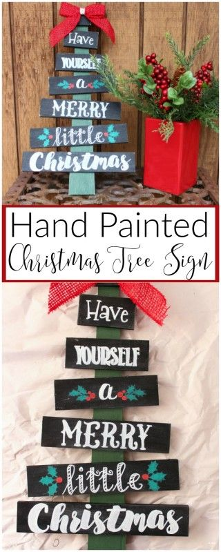1. Hand Painted Christmas Tree Signs