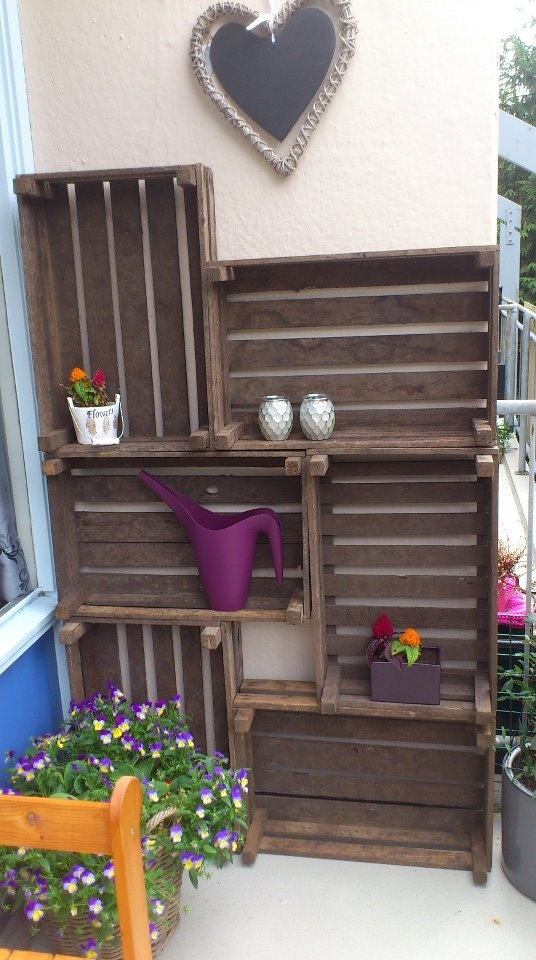 10. Wooden Crate Shelves