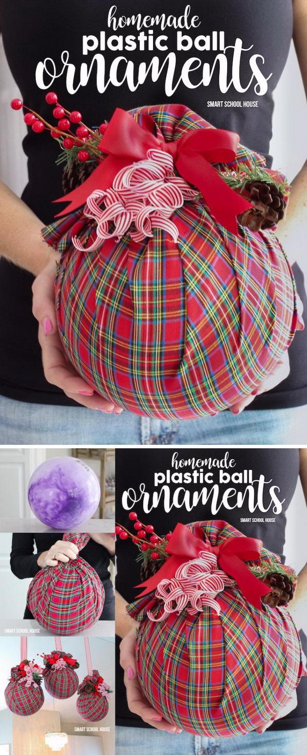 12. Homemade Plastic Ball Ornaments