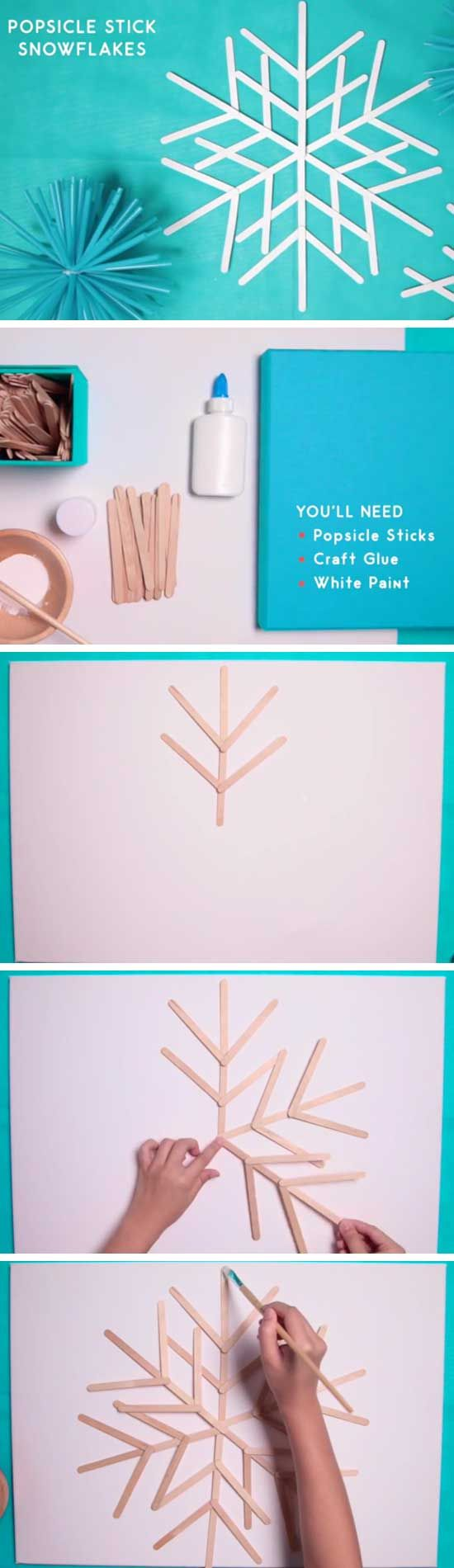 4. Popsicle Stick Snowflakes