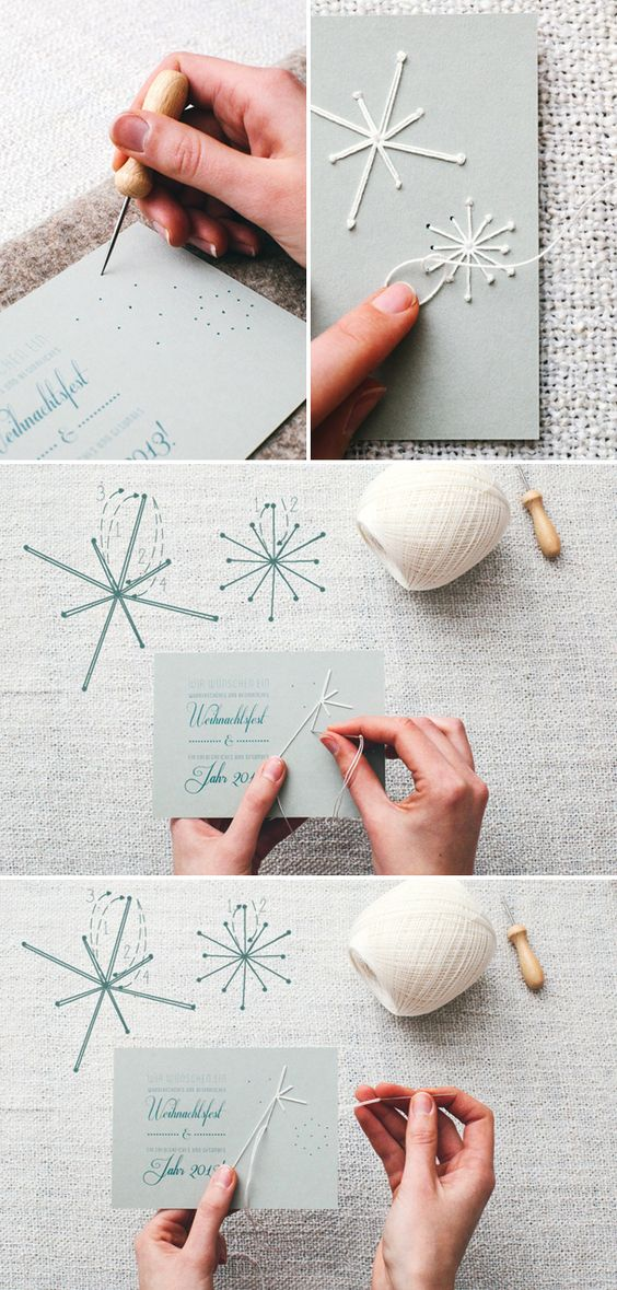 7. Embroided snowflake Christmas Card