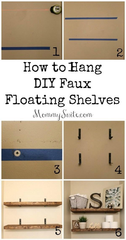 2. DIY Faux Floating Shelves