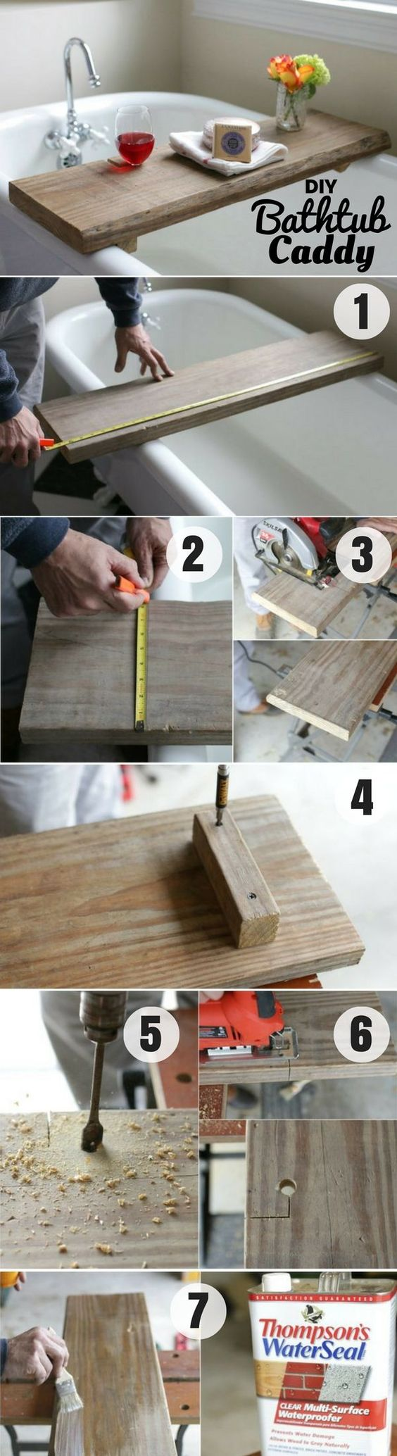 2. DIY Bathtub Caddy