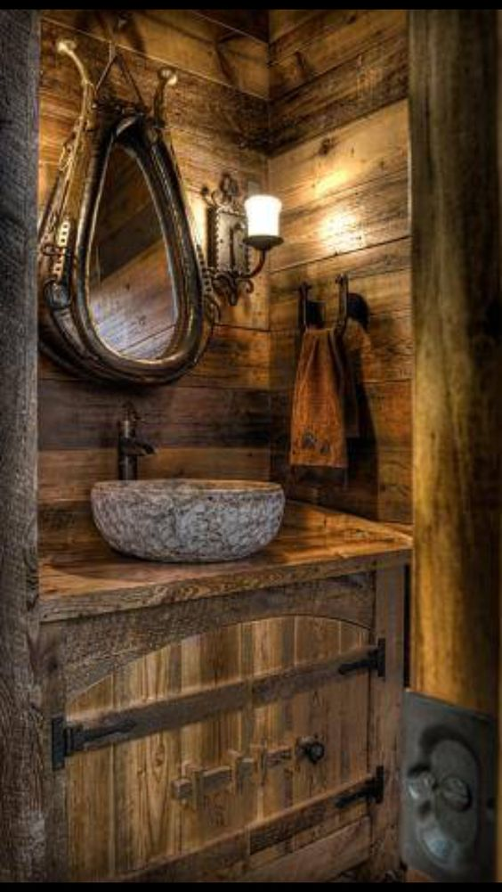 6. Wooden Theme Bathroom